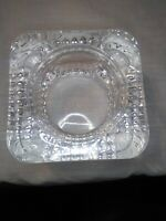 Vintage Heavy Geometric Square Crystal Glass Ashtray Made in France (With Chip)