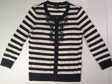 $39 Womens - Talbots Long Sleeve Sweater Shirt Size Small White Black Striped