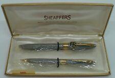 Vtg. Nos Gray Sheaffer White Dot Statesman Snorkel Fill Fountain Pen Set W/Box