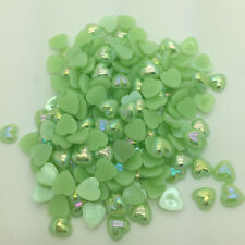 New 12mm 50pcs Heart-Shaped Pearl Bead Flat Back Scrapbook For Craft Green