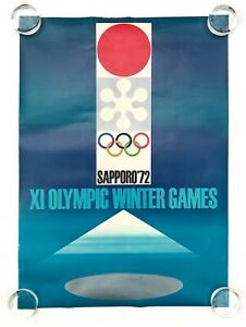 Takashi Kono ORIGINAL 1972 XI Winter Olympics Poster Sapporo Japan