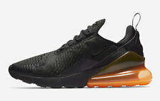 Nuevo Nike Air Max 270 Negro Total Naranja Malla Aire Burbuja Zapatillas 10
