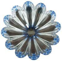"10"" Orrefors Crystal Mayflower Jan Johansson Blue Candy Bowl Centerpiece Sweden"