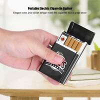 Portable Cigarette Box Case W/ Mini USB Rechargeable Electric Flameless Lighter