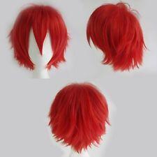 New Women Men Cosplay Anime Full Wig Natural Short Straight Layer Blonde White h