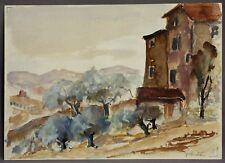 Prof.FLESCHE,Hermann (Braunschweig 1886-1972) Orig.Aquarell 1925 Toskana Italien