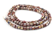 Maroon Java Gooseberry Beads 5mm Indonesia Red Cylinder Glass 25 Inch Strand