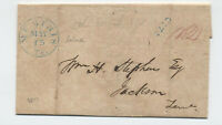 1844 Memphis TN stampless blue CDS 12 rate to Jackson [H.316]