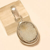 Natural American Rainbow Druzy Pendant 925Sterling Silver Christmas Fine Jewelry