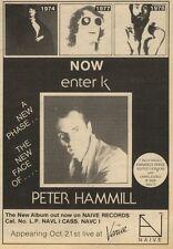 23/10/82Pgn32 Advert: Peter Hammill New Album now Enter K 8x5