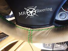 Per Mazda 323 1998-2003 Volante in Pelle Beige Copertura Verde doppia cucitura
