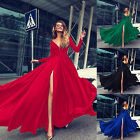 Womens Wedding Bride Sexy V-neck Long Evening Party Formal Prom Ball Gown Dress