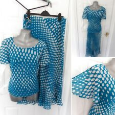 ❤ WINDSMOOR Size 12 Turquoise Blue White Spot 100% Silk Skirt & Top Outfit MOB