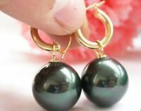 HUGE 16MM PERFECT ROUND BLACK SOUTH SEA SHELL PEARL DANGLE EARRING 14K GOLD