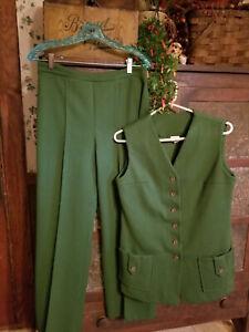 Vintage 70s Green Polyester Jacket Pants Disco LEISURE Suit Brookvalley