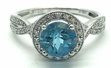 Sterling Silver Round Swiss Blue Topaz CZ Halo Split Pave Twist Cocktail Ring