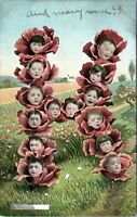 1907 Letter H Formed By Baby Heads in Flowers No. 120-9 Postcard