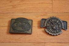 2 Vintage Metal Beer Belt Buckles Heineken Beer , Southern Comfort