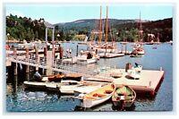 Postcard Marina at Northeast Harbor, Maine wharf floats A3