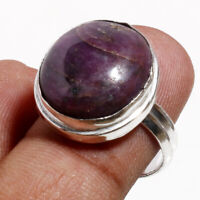 Solid 925 Sterling Silver Natural Pink Rhodonite Gemstone Jewelry Ring Size 8.0