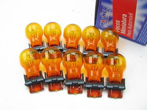 (10) Wagner 3457NA Amber Turn Signal Light Bulbs 14V