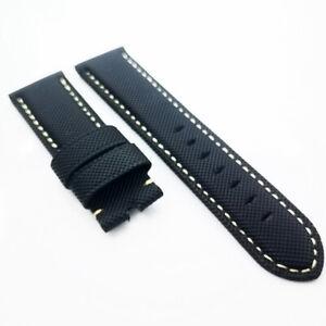 26mm Black Canvas Beige Stitch Calf Leather Band Strap for PAM Luminor Radiomir
