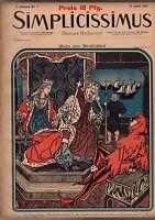 1897 Simplicissimus April 24 - Art Nouveau, German Jester, Extremely Rare