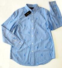 NEW Ralph Lauren Boy's Oxford Button Down Shirt All Over Pony Top Blue XL 18-20