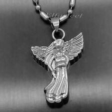 Angel Love Cremation Keepsake Memorial Urn 316L Stainless Steel Pendant w/ Chain