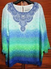 Boho 3/4 Sleeve Floral Multicolor Layered Polyester Petite Blouse Tunic Top 16P