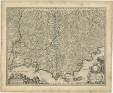 Antique Map of the southern coast of France by Janssonius (1657)