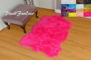 3' x 5' PlushFurEver Rugs Hot Pink Chubby Sheepskin Pelt Suede Nursery Decor