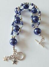 New Handmade Blue Glass Pearl Silver Beaded Bracelet Star Charms Toggle Clasp