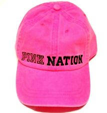 NWT VICTORIA'S SECRET PINK NATION NEON PINK BASEBALL CAP COTTON  VS JJ34