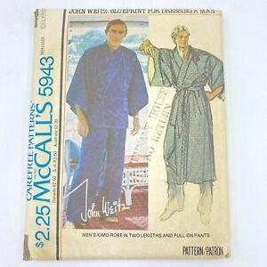 1970s John Weitz Sewing Pattern McCalls 5943 size XL 46 48 Kimono Robe Pants PT
