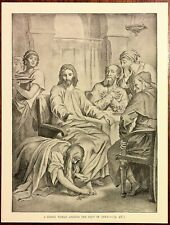1890s Victorian Era Book Drawing A Sinful Woman Anoints The Feet Of Jesus