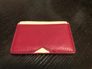 Fossils Card Holder Thin Wallet Red Pebble Leather
