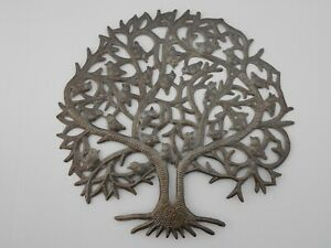 """Haitian Art Recycled Oil Drum Metal Wall Decoration """"Tree with Birds"""" 14""""x14"""""""