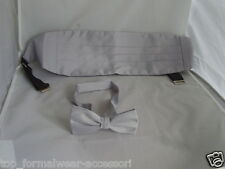 Silver Grey Polyester Cummerbund and Bow Tie Set-P&P 2UK>1st Class-in 60 Colours