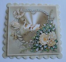 PK 2 SWAN WEDDING ON YOUR WEDDING DAY EMBELLISHMENT TOPPERS FOR CARDS OR CRAFTS