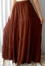 brown pants gauchos ruffle tiers wide M L XL 1X 2X zs400