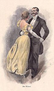 Musik und Tanz - Walzer und Ländler - 2 Handkolorierte Holzstiche um 1895