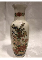 Vintage Satsuma Japan Oriental Asian Vase Floral Deco Cracked Style 11 In.