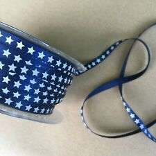 Satin Star Print Ribbon : 6mm : Blue / White - per Metre