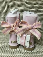 UGG CUSTOMIZABLE SHORT BAILEY BOW SEASHELL PINK SUEDE FUR BOOTS SIZE 9 WOMENS