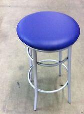 Sgabello medio per bar,cucin in metallo senza schienale seduta blu finta pelle