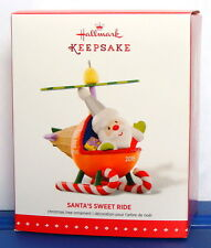 Hallmark 2015 Santa's Sweet Ride Christmas Ornament Helicopter #9 ~ Box Ink Line