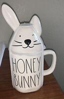 "NEW VHTF Rae Dunn ""Honey Bunny"" Mug with Bunny Topper Different Ear Bent Winking"