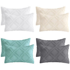 Set of 2 Bedding Cotton Linen Throw Pillow Covers for Couch Sofa Bed with Tassel