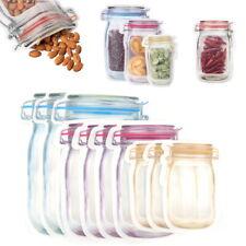 10/20Pcs Mason Jar Zipper Bags Food Storage Snack Sandwich Zip Seal Reusable Bag